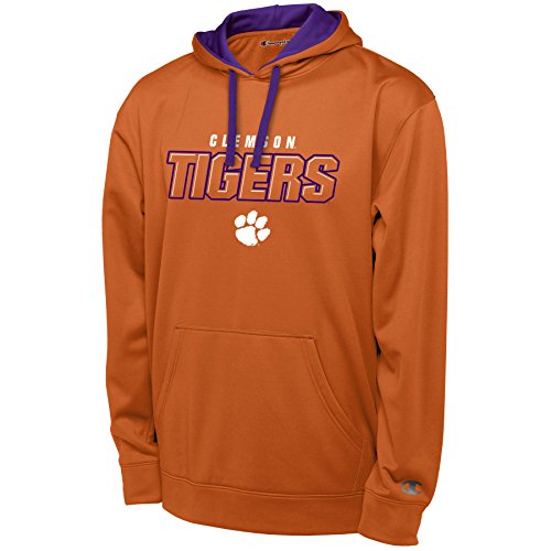 Champion NCAA Clemson Tigers Men's T-Formation Pullover Hood Sweatshirt with Applique, Orange, Large