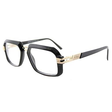 2ac658f35c Image Unavailable. Image not available for. Color  Cazal 6004 001 Unisex  Shiny Black Gold Plastic 56-millimeter Rectangular Eyeglasses