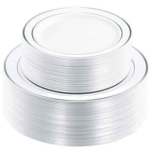 WDF 120PCS Silver Plastic Plates-Disposable Plastic Plates with Silver Rim- Plastic Wedding Party Plates including 60Plastic Dinner Plates 10.25inch,60 Salad Plates 7.5inch