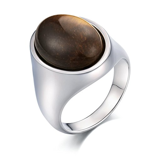 Epinki Stainless Steel Punk Gothic Ring High Gloss Polished Oval Opal 21MM Silver Brown Ring Size 11