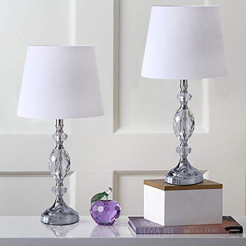 Pauwer Modern Clear Crystal Table Lamps Set of 2 Bedroom Living Room Bedside 19-inch Chrome Table Lamp Set with White Fabric Shade