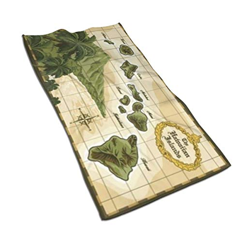 NICEBO Hawaiian Islands Vintage Style Map Deluxe Velour Microfiber Towel Super Absorbent Personal Custom Wipes, Machine Washable Absorbent Towel, Kitchen Towels Dish Towels 15.7x27.5 Inches