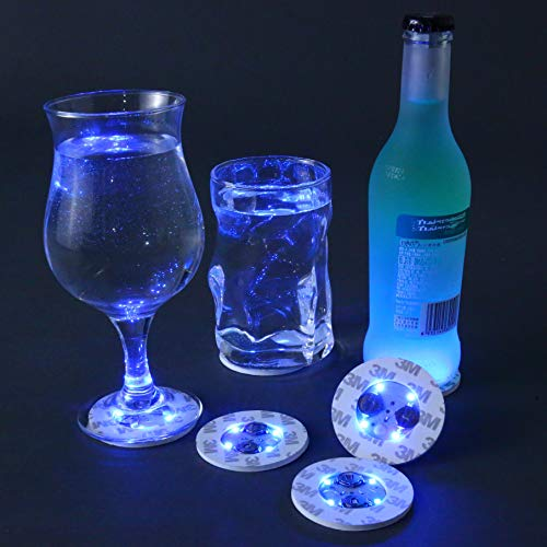 LED Bar Coasters,Bottle Lights,Bottle Glorifier,7 PCS LED Sticker Coaster Discs Lights for Drinks,Wine Bottle Clear Glass Cup Vase Blue Lights -Birthday,Wedding,Bar,Party Decoration (Bottles Light Blue Glass)