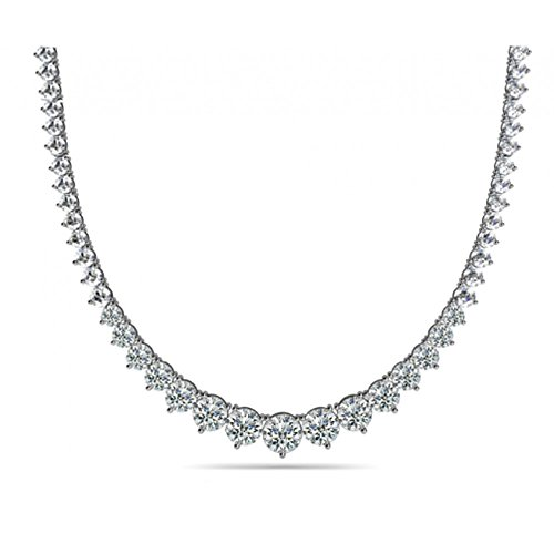 15.00 Ct Ladies Graduated Cubic Zirconia Necklace In 925 kt Silver by Madina Jewelry