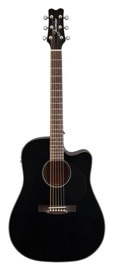 jasmine jd39ce blk j series acoustic electric guitar black musical instruments. Black Bedroom Furniture Sets. Home Design Ideas