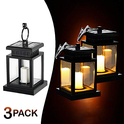 MakeABC Hanging Solar Lights Outdoor LED Umbrella Lantern Hang Hanging Lamp LED Candle Light for Yard Garden Decoration (3-Packs) ()