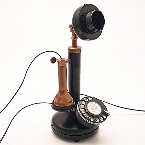 Decor Art International Classic Antique Replica Brass & Iron Rotary Dial Candlestick Working Telephone.