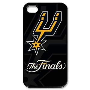 DIY case 1 NBA Team San Antonio Spurs Print Black Case With Hard Shell Cover Case For Iphone 4/4S Cover
