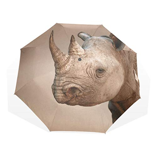 Umbrella Black Rhinoceros Portrait Travel Golf Sun Rain Windproof umbrellas with UV Protection for Womens Mens Kids Girls Boys