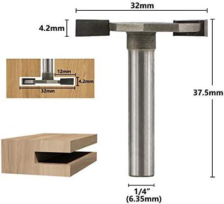 "WITHOUT BRAND 1pc 1/4"" Shank T-Track Stoßen Fräser for Holz Carbide Fräser T Slot Schaftfräser CNC-Stich-Bit (Größe : 6.35x32mm)"
