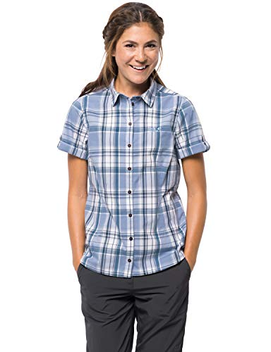 (Jack Wolfskin Women's Maroni River Women's Organic Cotton Short Sleeve Plaid Shirt,Shirt Blue Checks ,X-Large)