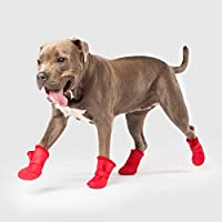 Canada Pooch | Lined Wellies Waterproof Dog Boots | All-Season Silicone Paw Protection (4XL, Red)