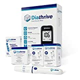 Diathrive Blood Glucose Meter Starter Kit | Includes: 100 Test Strips, 100 Lancets, Lancing Device, Control Solution, Meter, Manuals, Logbook, Carrying Case