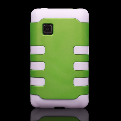 Heavy Duty Hard Neon Green Plastic + White TPU Hybrid Case for LG 840G by CoverON Protective Cover (Lg 840g Jelly Case)