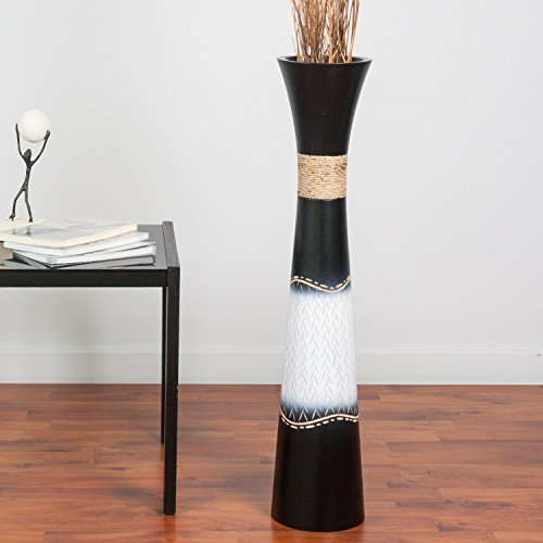 Tall Floor Vase 30 inches, Wood, Black White