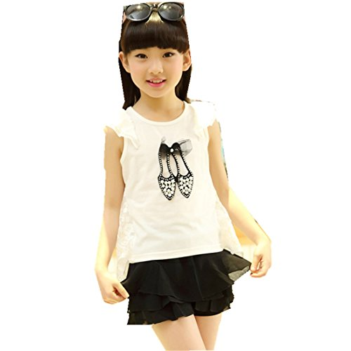 MV Summer New Girls T-Shirt Lovely Princess-Style Lace Shirt Children's T-Shirts by MV