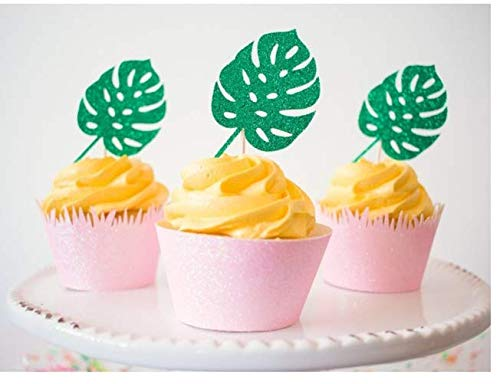Astra Gourmet 24Pcs Tropical Palm Leaves Cupcake Toppers - Hawaii Luau Tropical Theme Summer Party Decoration Supplies -