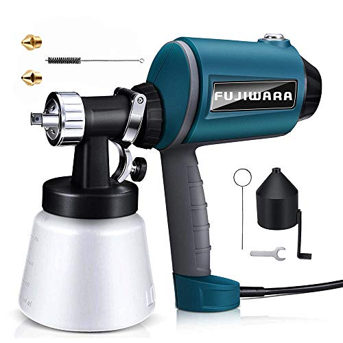 Paint Sprayer Electric HVLP Airless Paint Gun with Three Spray Patterns, Three Chrome-Plated Nozzle Sizes, Adjustable Valve Knob, 900ml Detachable Container from FUJIWARA