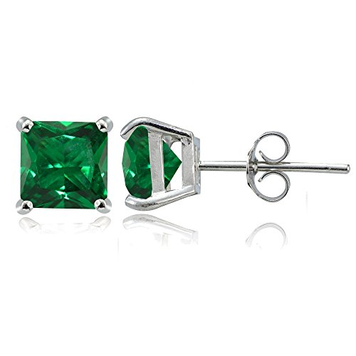 Sterling Silver Created Emerald 6mm Square Stud Earrings