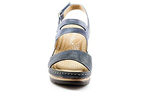 CALICO KIKI XIA-CK01 Women's Casual Peep Toe Velcro Ankle Strap Wedge Sandal Platform Shoes (8 US Navy) by CALICO KIKI (Image #2)