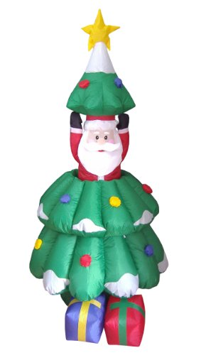 5 Foot Animated Christmas Inflatable Santa Claus Rising From Christmas Tree Yard Decoration