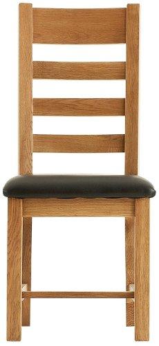 Esstisch, massive Pembroke-Eiche-pair-Leiter mit Stühlen mit Sitzkissen in Lederoptik