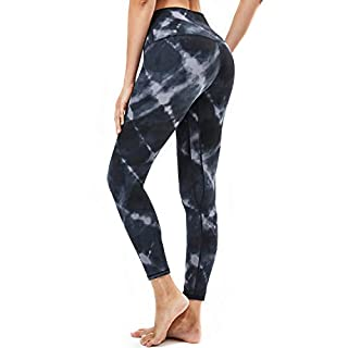 Souke Sports Women's High Waisted Yoga Pants, Tummy Control Workout Running Yoga Leggings for Women with Pockets Squat Proof Athletic Leggings (Tie dye, Medium)