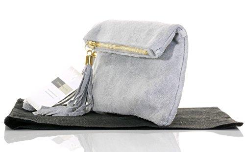 Italienische Wildleder Leder Falten über Kupplung, Handgelenk oder Umhängetasche.Umfasst eine Marke schützenden Aufbewahrungstasche. Hellgrau