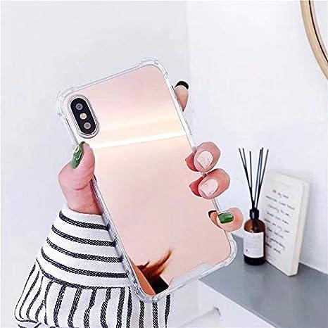 Artfeel Spiegel Hü lle fü r iPhone XS Max, Ultra Dü nn Leicht Klar Weich Silikon Bumper Handyhü lle,Kratzfest Stoß fest Make Up Spiegel Zurü ck Schutzhü lle fü r iPhone XS Max 6.5 Zoll-Rosé gold