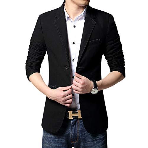 Men's Blazer Jacket Slim Fit One Button Sport Coat Notch Lapel Casual Business Solid Single Breasted Outwear (Black, ()