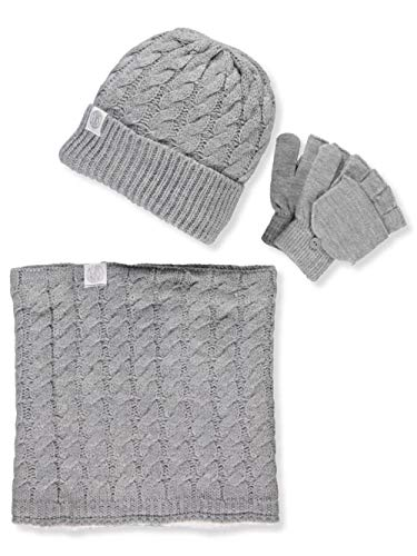 Winter Accessories Set - DKNY Girls' 3-Piece Winter Accessories Set - Gray, 7-16