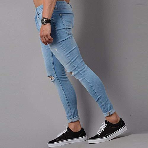 Blau Uomo Effetto Con Fit Slim Chern Invecchiato Casual Pantaloni Da Denim Distrutto Abbigliamento Attillati Jeans Fori Stretch vHqnw0a5x