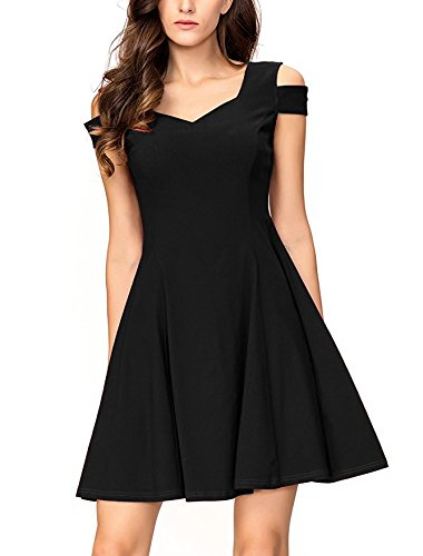InsNova Cold Shoulder Flare Black Cocktail Dress for Women Evening Party by InsNova (Image #2)