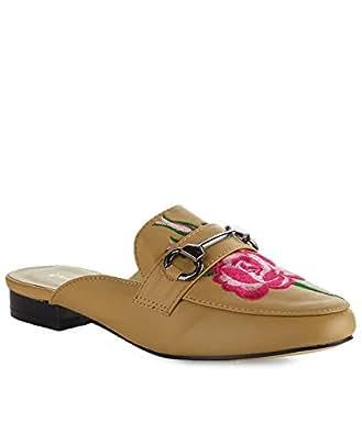 ROF Women's Fashion Almond Toe Flower Embroidery Low Block Heel Mule Loafer Slides Flats - EA05 BEIGE (5.5)
