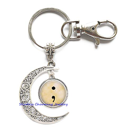 Semi Colon -Sign of Hope - Strength in Mental Health - Love of Self - Semicolon Key Ring - Semicolon Moon Keychain,Photo Key Ring Art Key Ring-JP392 (C1)