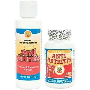 Anti Artritis tratamiento de crema y capsulas con Glucosamina, Condroitin y Colageno. Alivia dolor