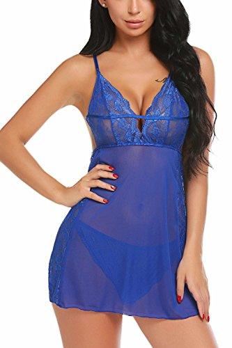 Avidlove Women Lace Babydoll V Neck Lingerie Strap Sleepwear Cross Back Chemise Dark Blue XXL