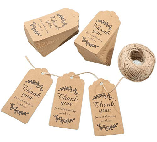 Gift Tags,Baby Shower Tags,Thank You for Celebrating with Us Personalized Paper Gift Tags,100 Pcs Kraft Thank You Tags for Wedding Party Favors with 100 Feet Natural Jute Twine -