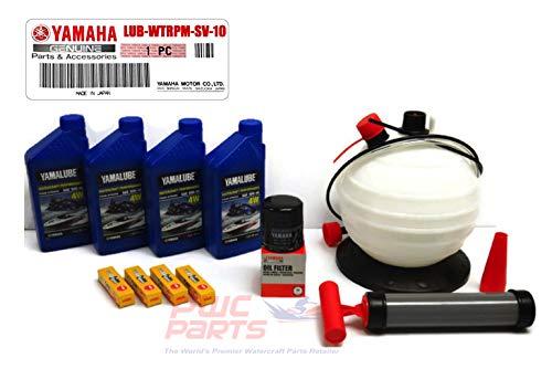 YAMAHA SVHO 1.8L WaveRunner Oil Change Kit w/Filter FX-SVHO FZR-SVHO FZS-SVHO GP1800 GP1800R 69J-13440-03-00 NGK Spark Plugs & 6L Oil Extractor Fluid Removal Pump Maintenance Kit