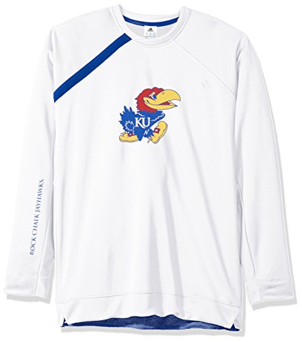 (adidas NCAA Kansas Jayhawks Mens On Court L/S Shooting Shirton Court L/S Shooting Shirt, White, Large)