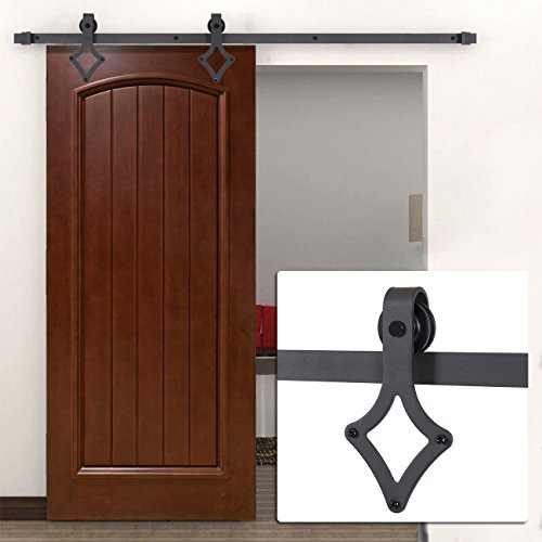 Belleze New 6'FT Frosted Black Country Barn Wood Steel Sliding Door Closet, Hardware