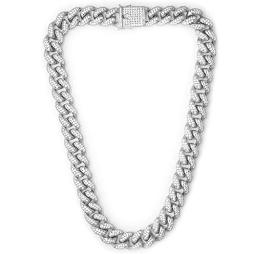 TRIPOD JEWELRY Hip Hop 12mm White Gold/18K Gold Plated Iced Out Miami Cuban Link Chain Bracelet Simulated Diamond Iced Out CZ Cuban Link Choker for Mens Cuban Chain Necklace (28.00, 12mm White Gold)