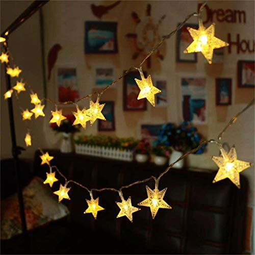Star String Lights, Battery Powered 16.4ft 50leds Twinkle Fairy Lights Warm White for Bedroom Indoor Wedding Tapestry Princess Castle Play Tents Decoration ()