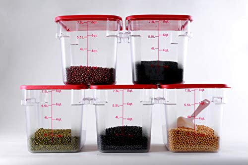 Hakka 8 Qt Commercial Grade Square Food Storage Containers with Lids,Polycarbonate,Clear - Case of 5 by HAKKA FOOD PROCESSING (Image #1)