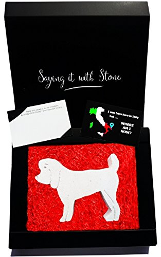 Stone Miniature Poodle Figurine - Gift box & blank message card included - Symbol of Friendship & Loyalty - Other Dog Designs Available - Handmade in Italy