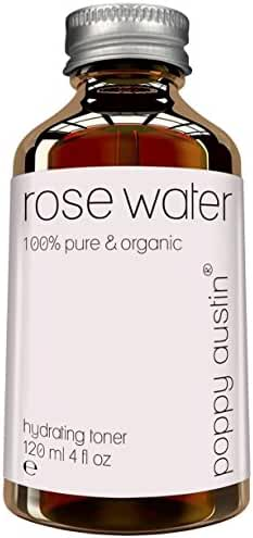 Pure Rose Water Facial Toner by Poppy Austin - Organic, Hand Made & Responsibly Sourced Skin Toner - Finest, Triple Purified Rosewater - Morocco's Best Skin Care Product 2016 - HUGE 4 oz Bottle