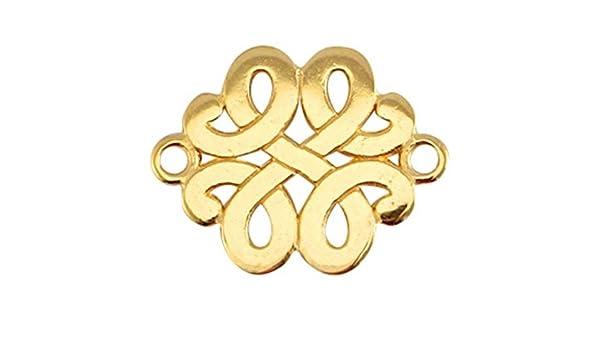 3 conector Infinity Golden filigrana 17x13 macrame joyas