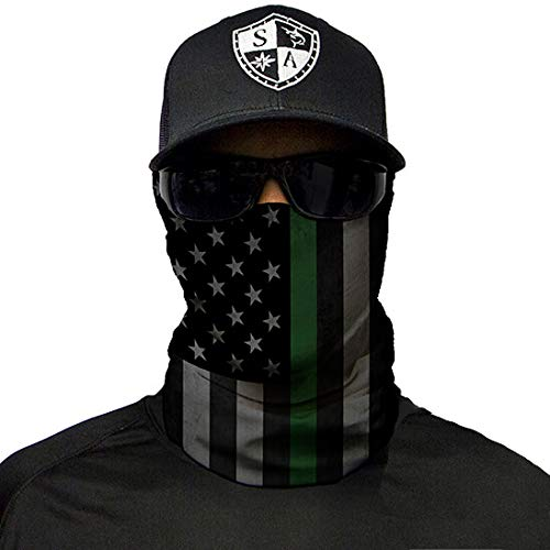 SA Company Face Shield Micro Fiber Protect from Wind, Dirt and Bugs. Worn as a Balaclava, Neck Gaiter & Head Band for Hunting, Fishing, Boating, Cycling, Paintball and Salt Lovers. - Thin Green Line