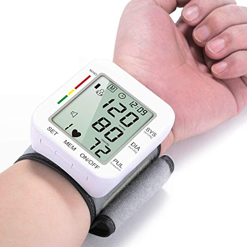 Blood Pressure Cuff Monitor Clinically Accurate Wrist Fast Reading with 90 * 2 Data Memory & Voice Broadcast BP Wrist Cuff with Carrying case and Large LCD Display