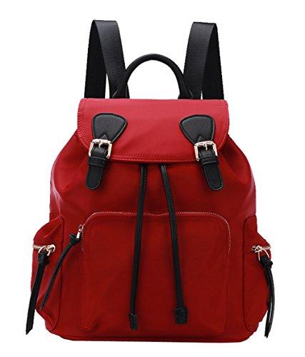 Backpack Womens Anti-Theft Drawstring Shoulder Straps for Teenage Girls Black 5-red